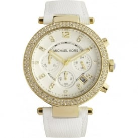 Michael Kors Watches MK2290 Ladies Gold & White Chronograph Watch