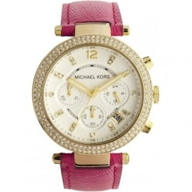 Michael Kors Watches MK2297 Ladies Gold & Pink Chronograph Watch