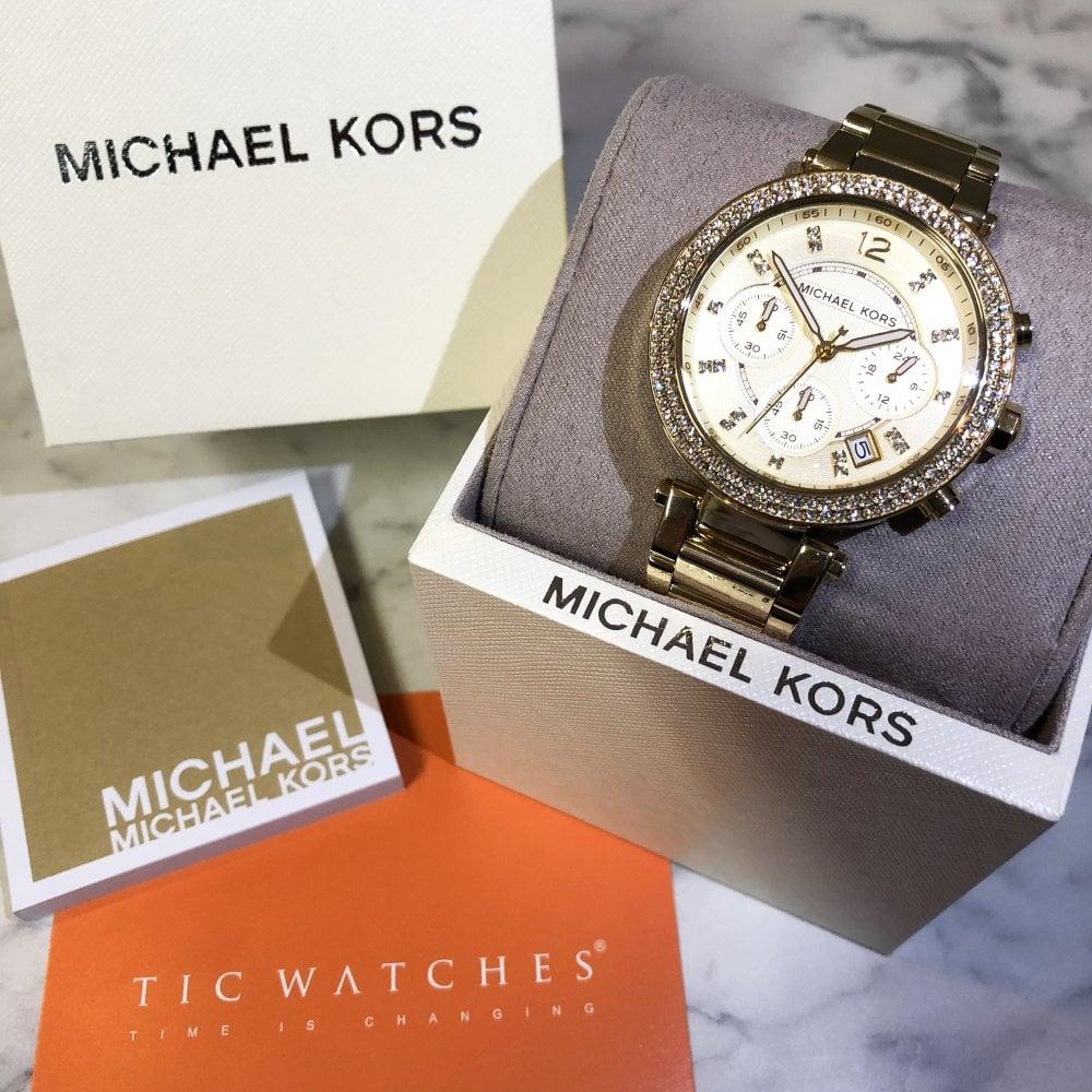 b4b269f6cbca MK5354 Parker Gold Tone Ladies Chronograph Watch