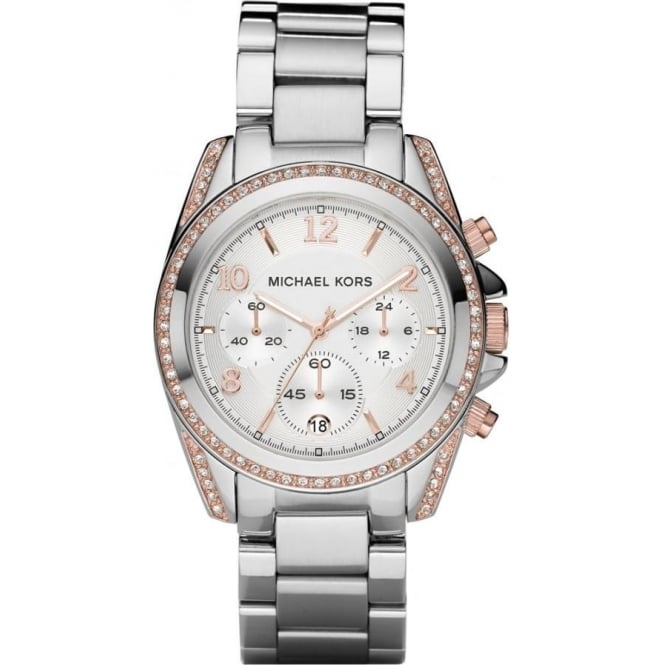 Michael Kors Watches MK5459 Blair Rose Gold & Silver Stainless Steel Chronograph Ladies Watch