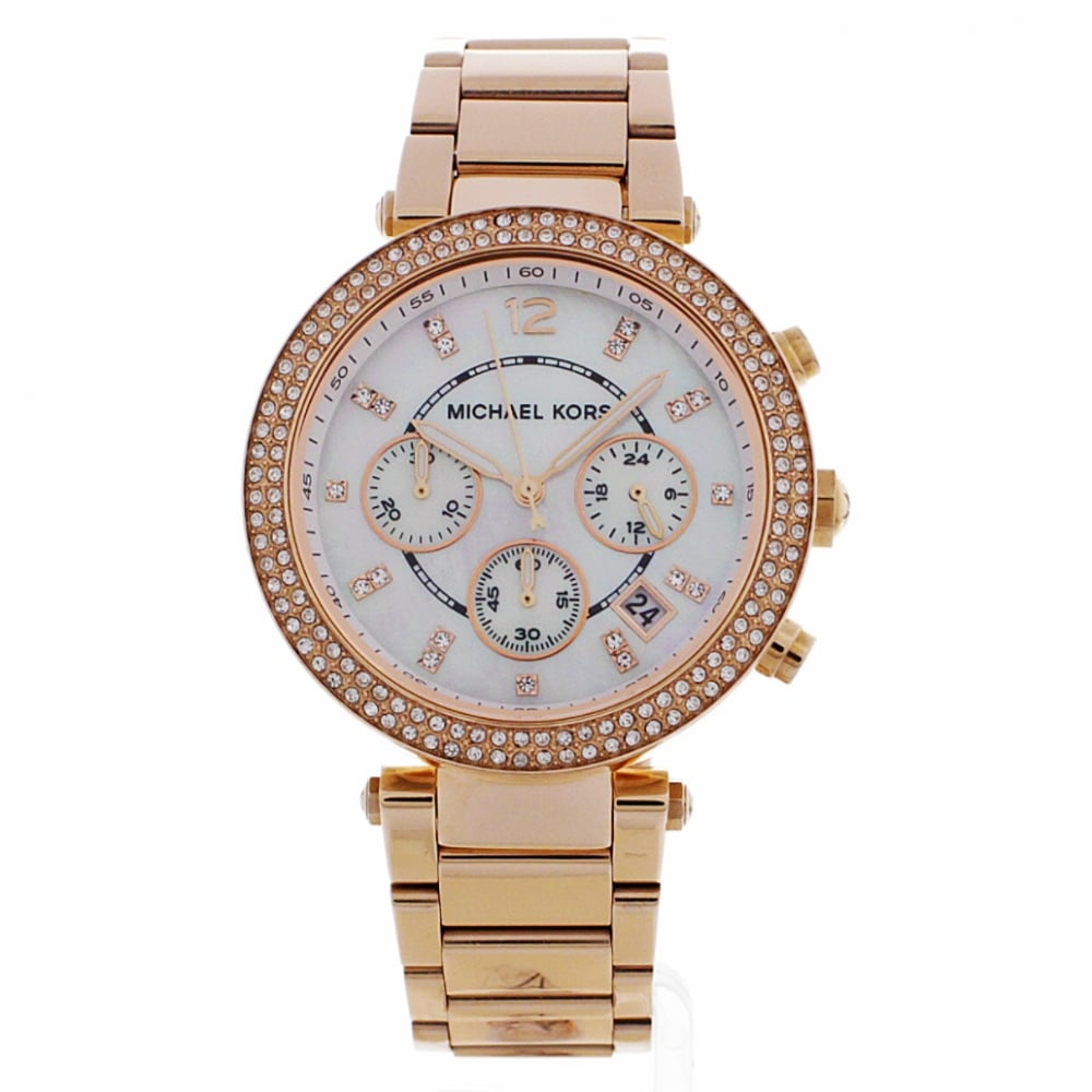 83ce502d5524 MK5491 Parker Ladies Rose Gold Mother of Pearl Chronograph Watch