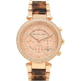MK5538 Michael Kors Rose Brown & Rose Gold Chronograph Ladies Watch