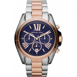 Michael Kors Watches MK5606 Ladies Silver & Navy Chronograph Stainless Steel Watch