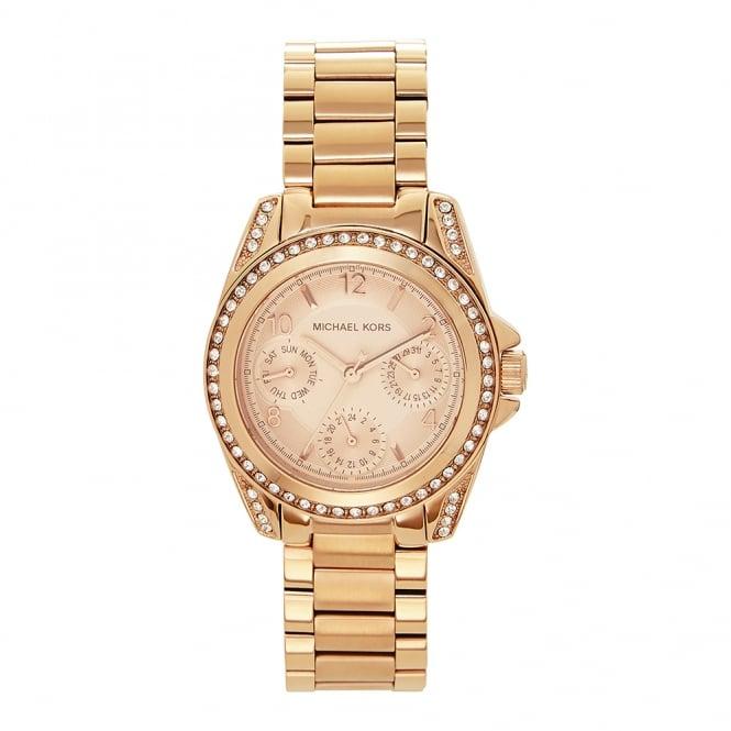 3c9726e7c3c1 MK5613 Mini Blair Rose Gold Tone Stainless Ladies Chronograph Watch