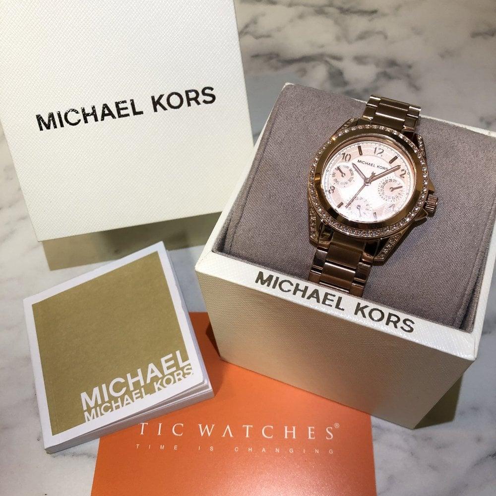 3c31605657d9 MK5613 Mini Blair Rose Gold Tone Stainless Ladies Chronograph Watch
