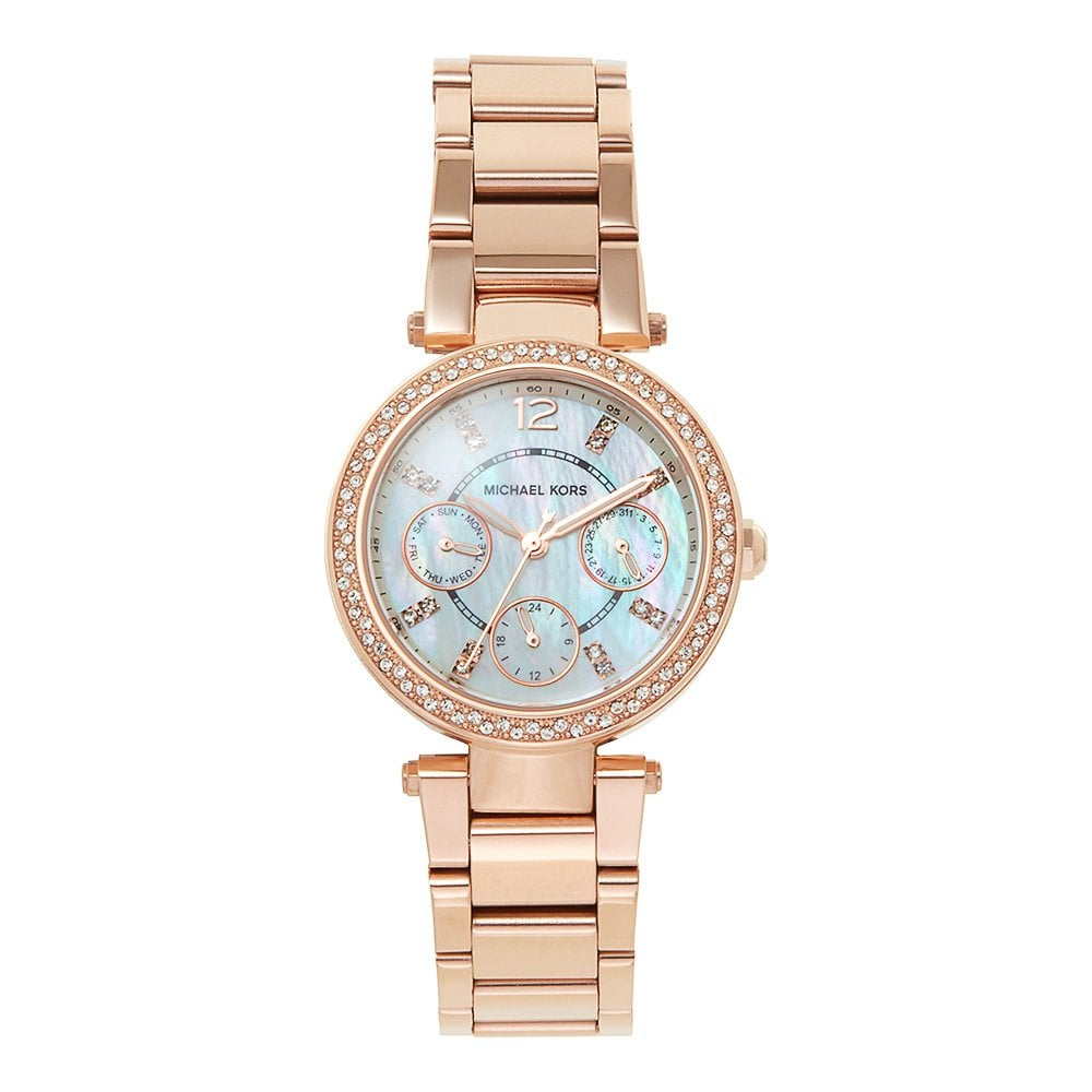 cb0e7551e855 MK5616 Mini Parker Rose Gold   Mother Pearl Dial Ladies Watch