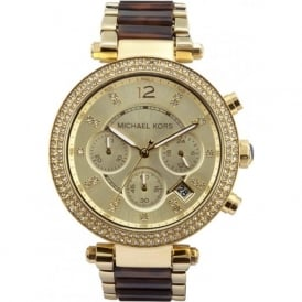 MK5688 Ladies Gold & Tortoise Chronograph Watch