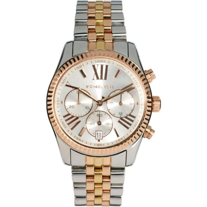 Michael Kors Watches MK5735 Lexington Three Tone Stainless Steel Chronograph Ladies Watch