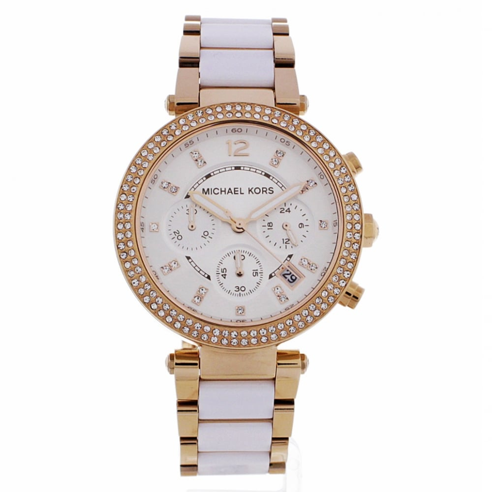 948a31a9a0a9 MK5774 Parker Ladies Rose Gold   White Chronograph Watch In Stock. Michael  Kors Watches ...