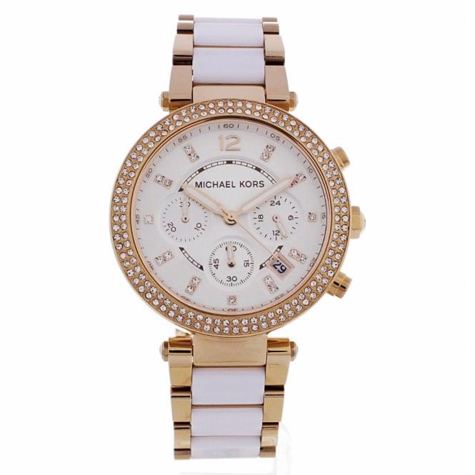 mk5774 parker ladies rose gold amp white chronograph watch