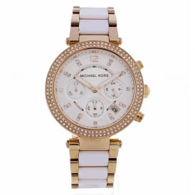 MK5774 Ladies Rose-Gold & White Chronograph Watch