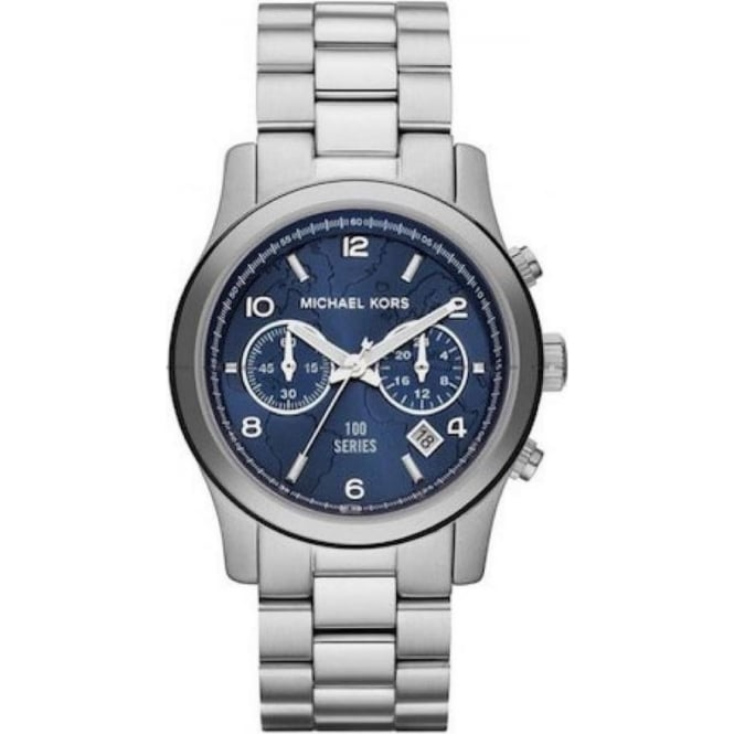 Michael Kors Watches MK5814 Hunger Stop 100 Series Blue & Silver Stainless Steel Ladies Watch