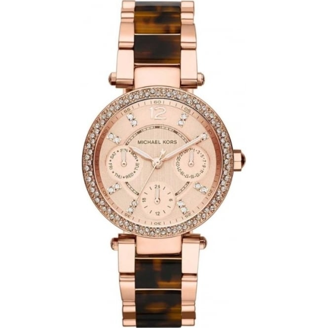 a38a8ef5264 MK5841 Michael Kors Ladies Rose Gold and Brown Chronograph Watch ...