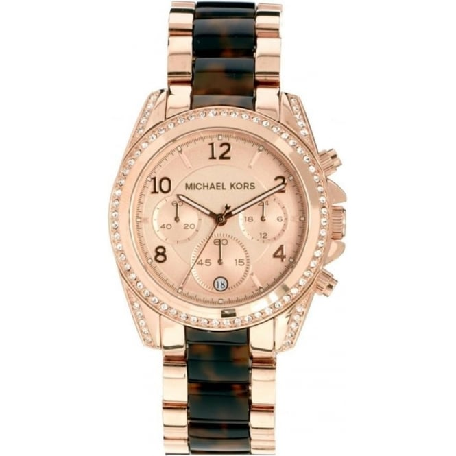 Michael Kors Watches MK5859 Brown & Rose Gold Blair Chronograph Ladies Watch