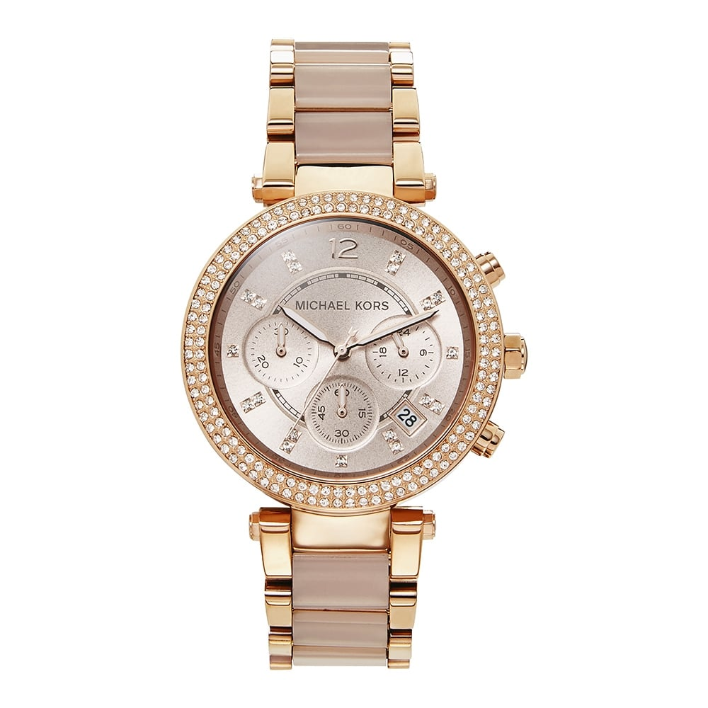 871f8c58adb7 Michael Kors Watches MK5896 Parker Two Tone Rose Gold Ladies Chronograph  Watch