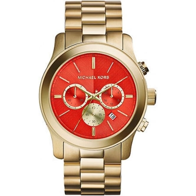 Michael Kors Watches MK5930 Runway Orange & Gold Chronograph Ladies Watch