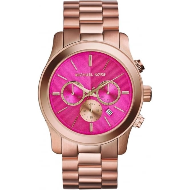 Michael Kors Watches MK5931 Runway Pink & Rose Gold Chronograph Ladies Watch