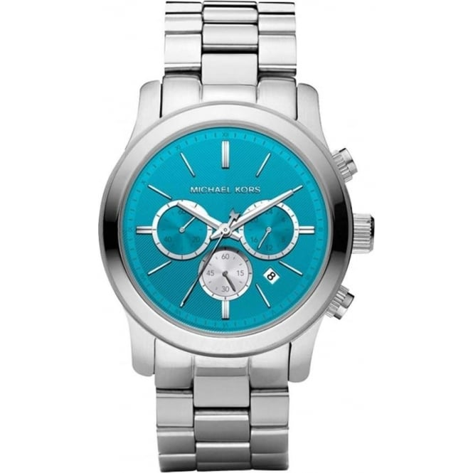 Michael Kors Watches MK5953 Runway Blue & Silver Stainless Steel Chronograph Watch