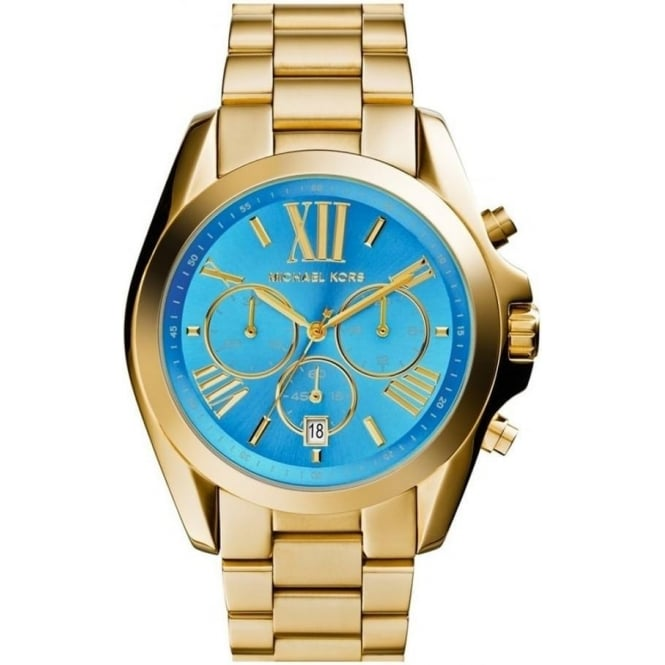 Michael Kors Watches MK5975 Bradshaw Turquoise & Gold Chronograph Watch