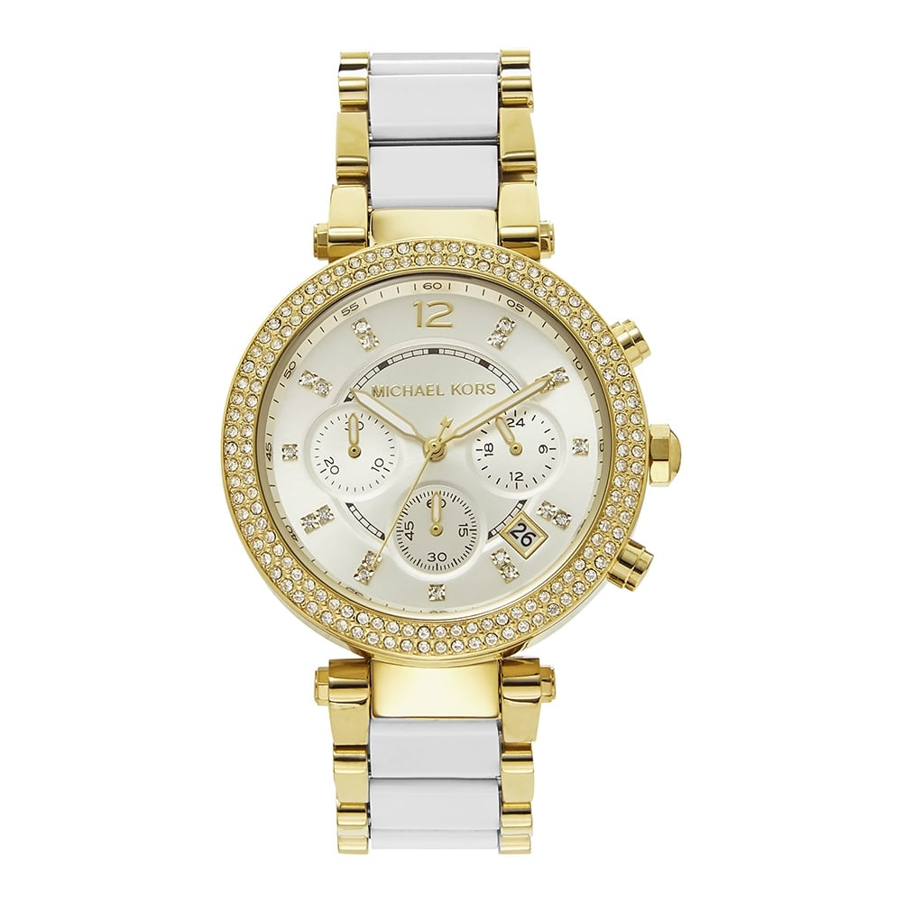 9166d3af7a9c7 MK6119 Parker White   Gold Ladies Chronograph Watch In Stock. Michael Kors  ...