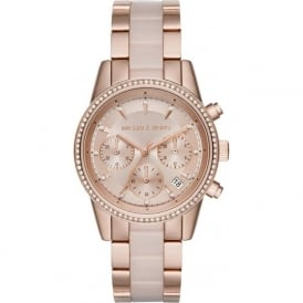 MK6307 Ritz Rose Gold Stainless Steel Chronograph Ladies Watch