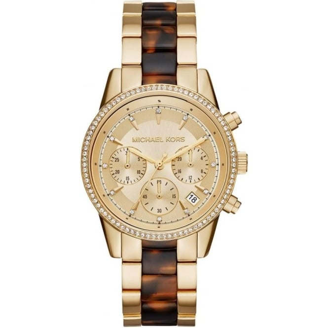 Michael Kors Watches MK6322 Ritz Yellow Gold & Tortoise Stainless Steel Chronograph Ladies Watch