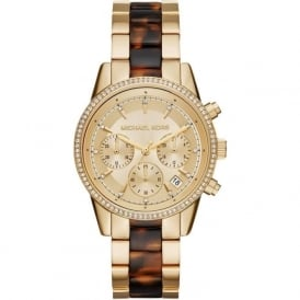 MK6322 Ritz Yellow Gold & Tortoise Stainless Steel Chronograph Ladies Watch