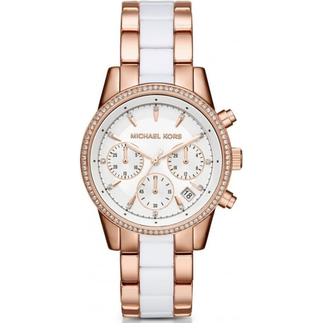 Michael Kors Watches MK6324 Ritz White & Rose Gold Stainless Steel Chronograph Ladies Watch