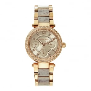 Michael Kors Watches MK6327 Mini Parker Rose Gold & Purple Stainless Steel Ladies Watch