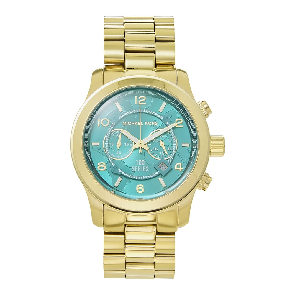 62aef629bdf0 MK8315 Michael Kors Runway Turquoise and Gold Chronograph Watch ...