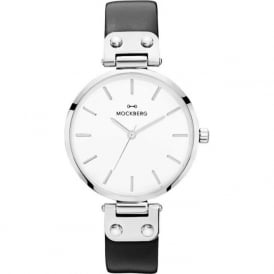 MO1002 Astrid Silver & Black Leather Ladies Watch