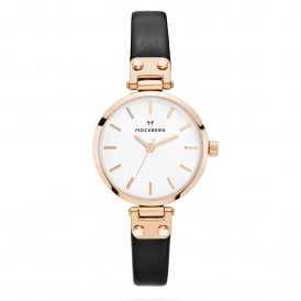 MO1401 Sigrid Petite Rose Gold & Black Leather Ladies Watch