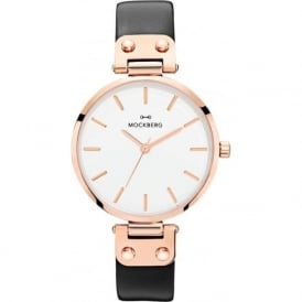 MO1001 Sigrid Rose Gold & Black Leather Ladies Watch