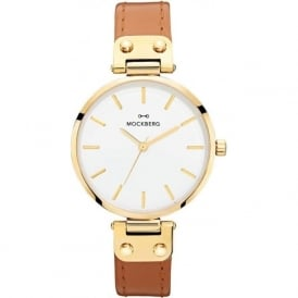 MO1003 Nora Gold & Brown Leather Ladies Watch