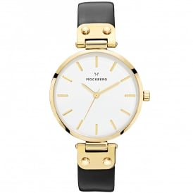 MO107 Saga Gold & Black Leather Ladies Watch