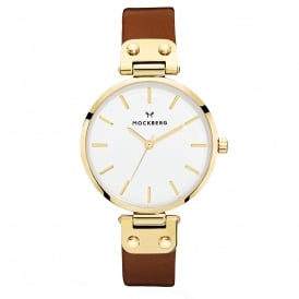 MO108 Ilse Gold & Dark Brown Leather Ladies Watch