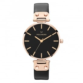 MO110 Sigrid Black & Rose Gold Leather Ladies Watch