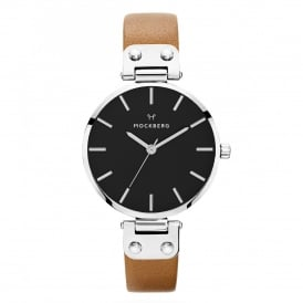 MO112 Wera Black Dial, Silver & Brown Leather Ladies Watch