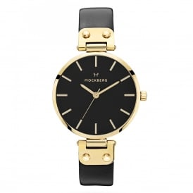 MO113 Saga Black Dial, Gold & Black Leather Ladies Watch