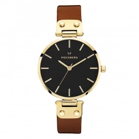 MO114 Ilse Black Dial, Gold & Dark Brown Leather Ladies Watch