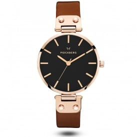 MO115 Vilde Black Dial, Rose Gold & Dark Brown Leather Ladies Watch
