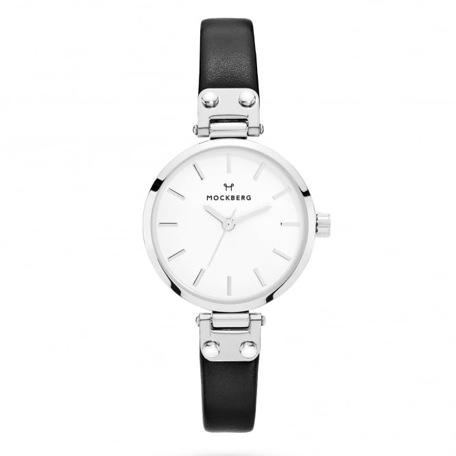 Mockberg MO1402 Astrid Petite Silver & Black Leather Ladies Watch
