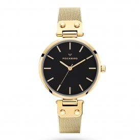 MO1603 Livia Noir Black Dial and Gold Mesh Ladies Watch