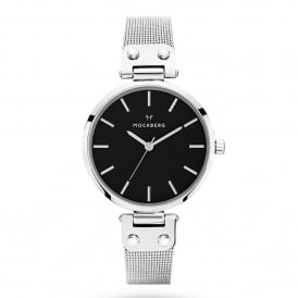 MO1604 Elise Noir Black Dial & Silver Mesh Ladies Watch
