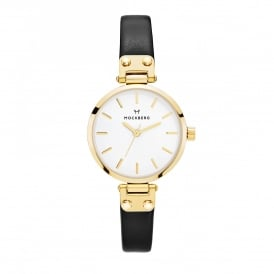 MO207 Saga Petite Gold & Black Leather Ladies Watch