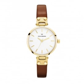 MO208 Ilse Petite Gold & Dark Brown Leather Ladies Watch