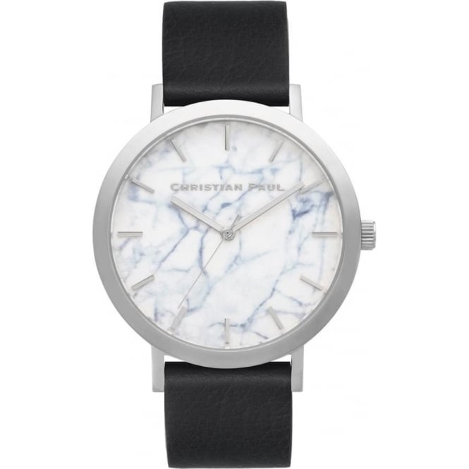 Christian Paul Watches MR-05 Elwood Marble Silver & Black Leather Watch