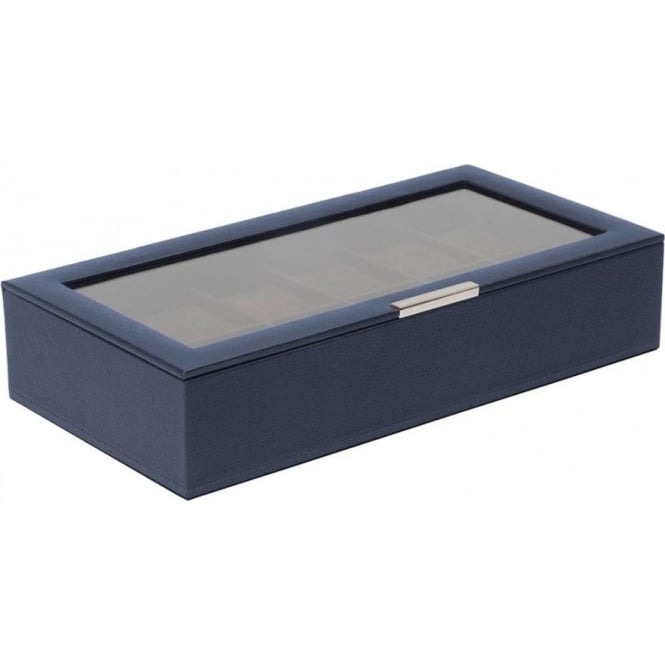 Wolf Designs Navy 12 Piece Watch Tray with Lid