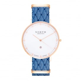 North Twenty Two DR104 Bergen Rose Gold & Blue Nylon Ladies Watch