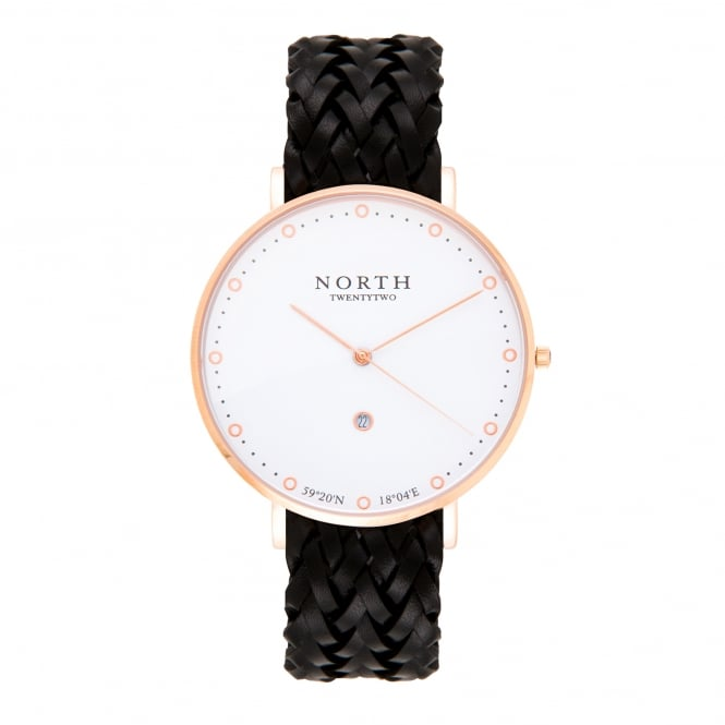 North Twenty Two DR107 Birka Rose Gold & Black Leather Ladies Watch